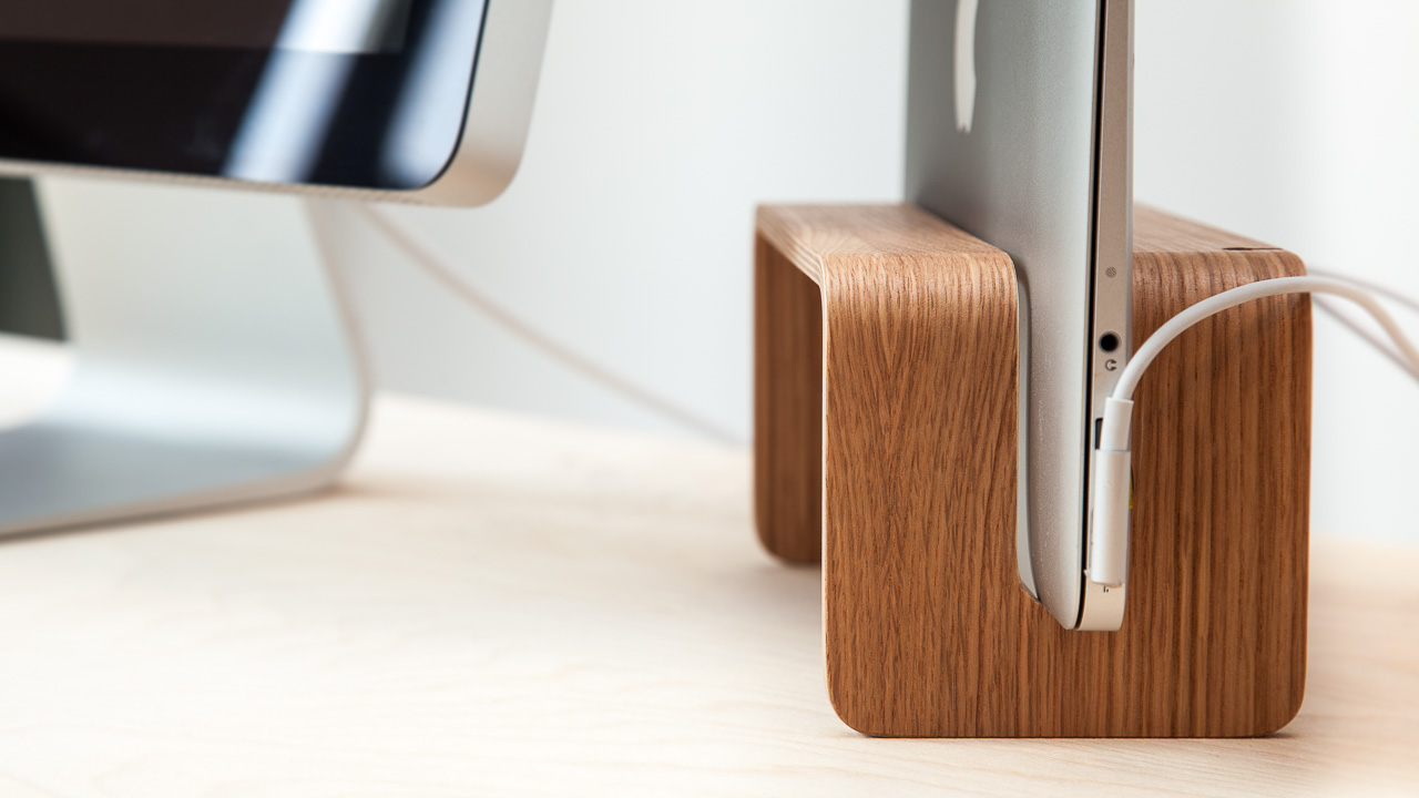 A Vertical Macbook Stand Nordic Appeal