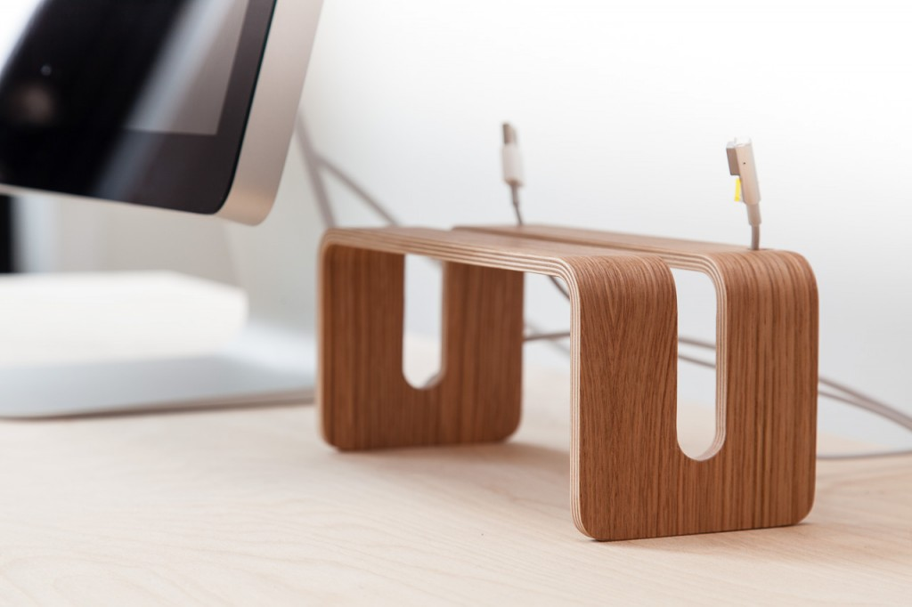 Vertical MacBook Stand in Wood